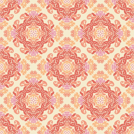 Vintage damask wallpaper pattern with abstract flowers and swirls in pink, orange, yellow, creme Stock Vector - 12759535