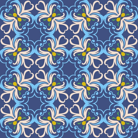 Seamless and elegant Baroque pattern with swirls on a dark blue background Vector