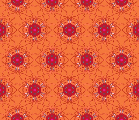 Seamless and elegant Baroque pattern with flowers in orange, pink, red, green Stock Vector - 12759534