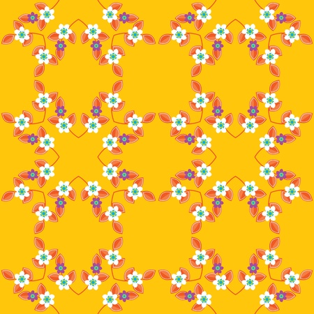 Warm yellow pattern design with seamless twigs, leaves and small flowers Vector