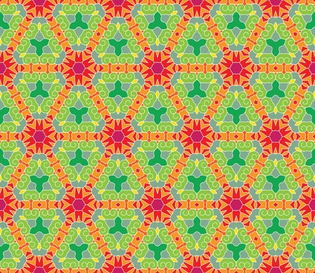 Seamless pattern with abstract flowers and stars in green, orange, red