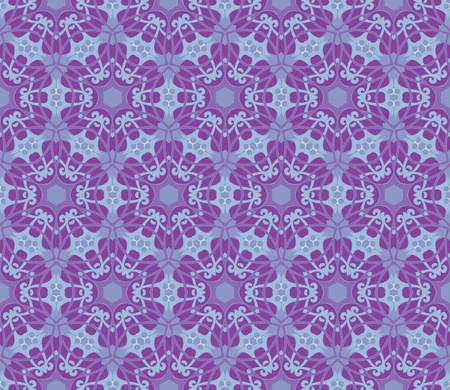 Seamless and elegant Baroque pattern with flowers in purple and blue