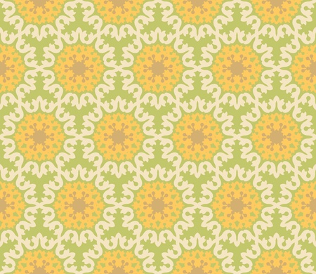 Seamless and elegant Baroque pattern with flowers in yellow, green, brown, creme Stock Vector - 12759502