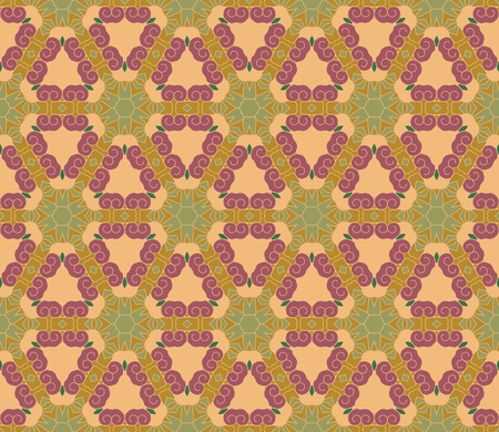Seamless pattern with abstract flowers and stars in brown, green, purple