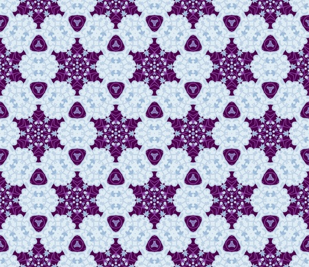 Seamless pattern with abstract flowers and stars in shades of purple, grey and blue