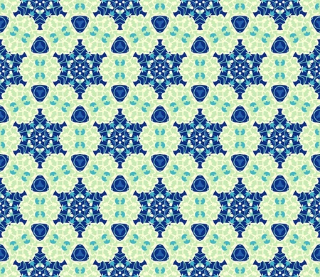 Seamless pattern with abstract flowers and stars in shades of green and blue