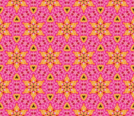 Seamless pattern with abstract flowers and stars in shades of pink, red, orange and black Illustration