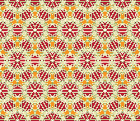 retro circles: Seamless pattern with abstract flowers and stars in red, orange and green