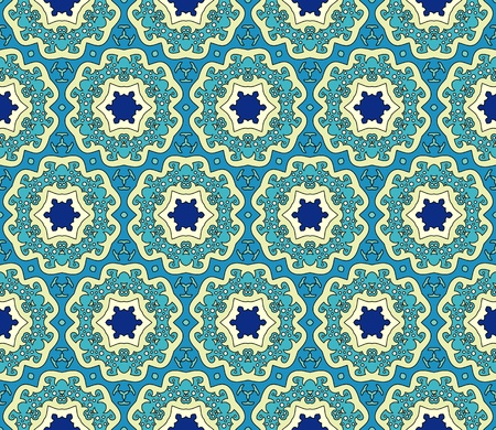 Seamless pattern with abstract flowers and stars in blue and green Illustration