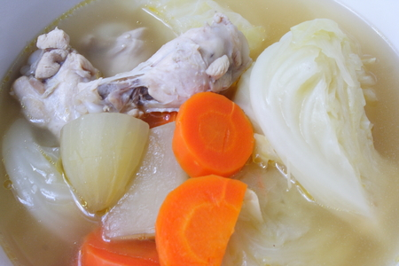 yacon: Chicken soup with vegetables Stock Photo