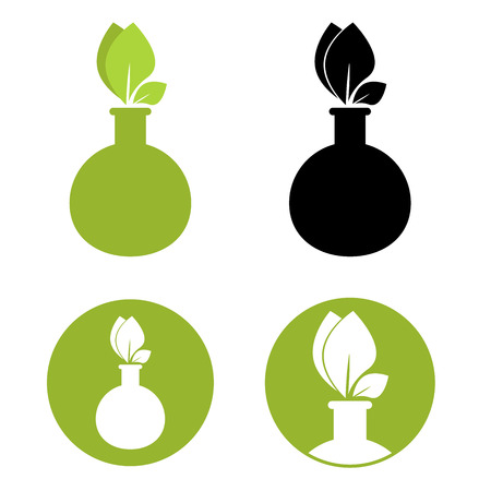 organic chemistry: Test tube with leaf icon. Organic chemistry logo design.