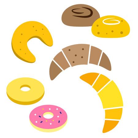 fruitcake: Colorful bread icon set isolated on white background