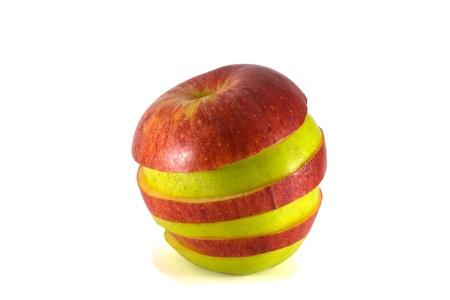 combined: Manzanas maduras combinados en rodajas Foto de archivo