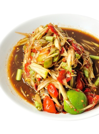 Thai cuisine hot and spicy papaya salad  Stock Photo - 13599963