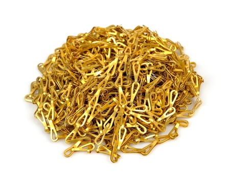 pile of gold chain on isolate Stock Photo