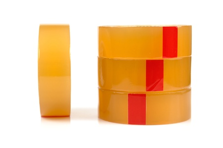 packing tape: Natural packing tape on white background Stock Photo