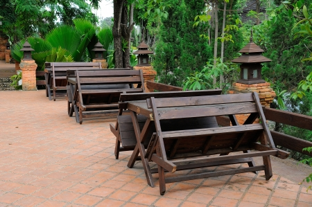 Old wooden tables and bench