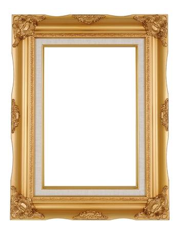 marco de la imagen de oro aisladas en blanco Foto de archivo