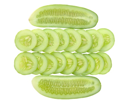 Cucumber and slices isolated on white background Stock Photo