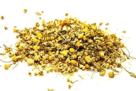 Close up dried Chamomile of white background  photo