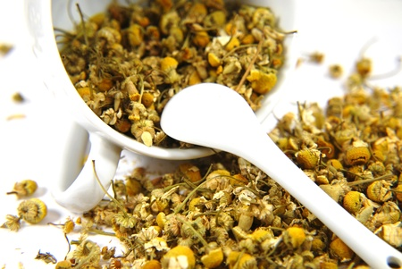 Dried chamomile with in the white cup