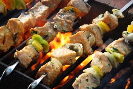 shish: Salmon kebabs Stock Photo