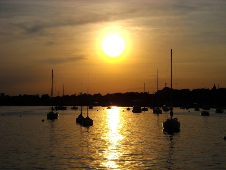 Sailing boats in marina at sunset photo