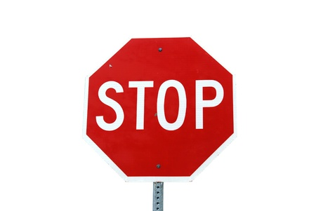 Isolated image of stop sign with reflect surface Stock Photo