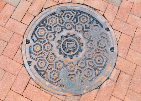 fragment manhole cover in the city photo