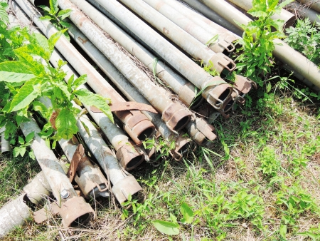 hosepipe: rusty metal pipe Stock Photo