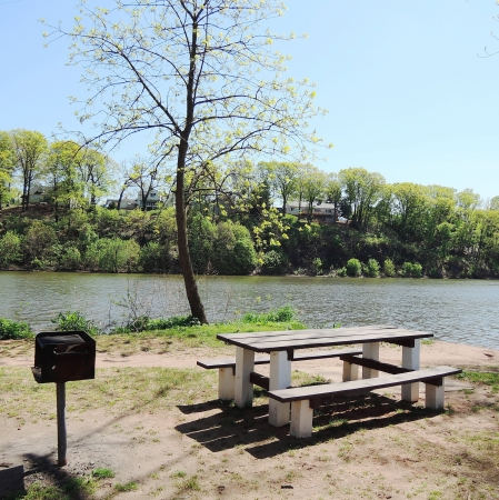 Picnic Table and Barbecue Grill at State Park photo