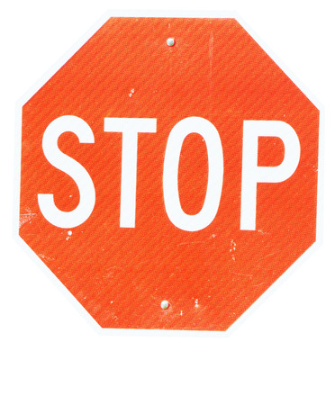 octahedral:               Isolated image of stop sign with reflect surface
