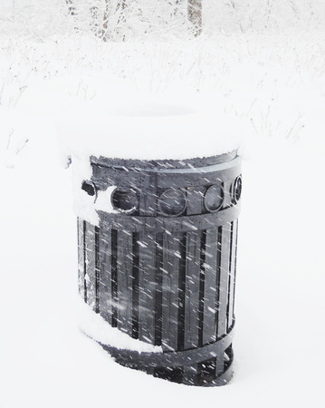 Public Garbage Can cover snow photo