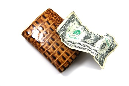 creased: wallet and dollar