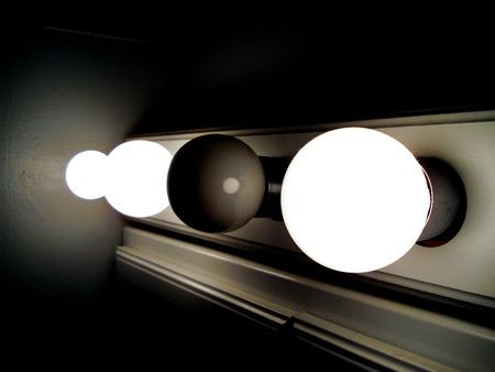 lamp on black background photo