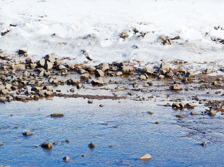 snowbanks: Winter river