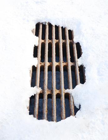 metal grate: manhole with snow