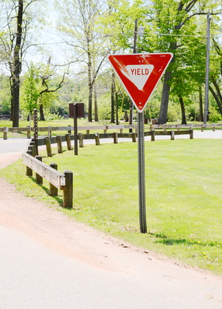 yield sign Stock Photo