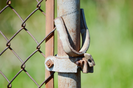 wire fence: Wire fence post Stock Photo