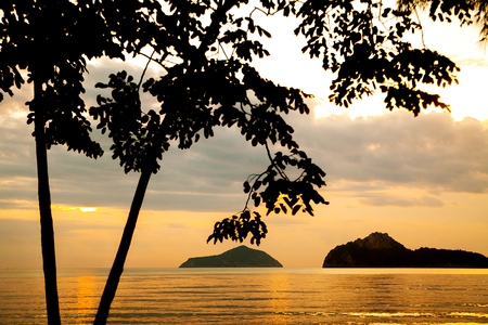 wonderful sunset in tropical paradise sand beach Stock Photo