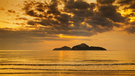 Island and sea in the sky Sunrise thai Prachuap Khiri Khan
