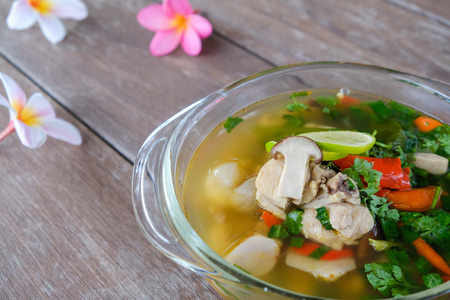 Tom Yum Gai,Northern Style Spicy Chicken Soup. Stock Photo