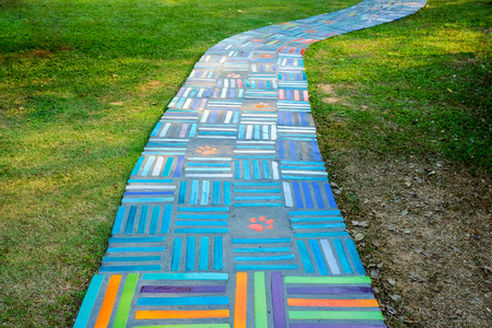 tailes: Ceramic tailes colors for walkway on lawn grass