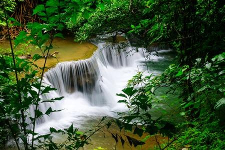 Waterfall huay mae khamin in Kanchanaburi province,Thailand Stock Photo
