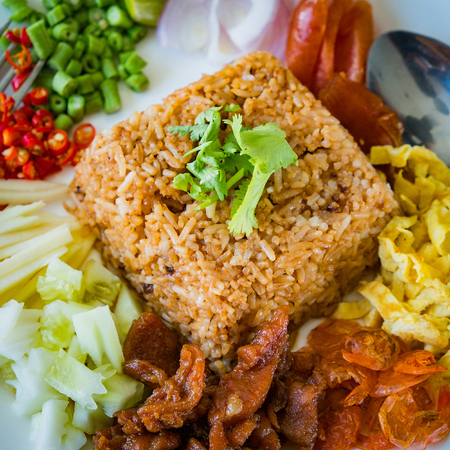 Rice Mixed with Shrimp paste on white plate