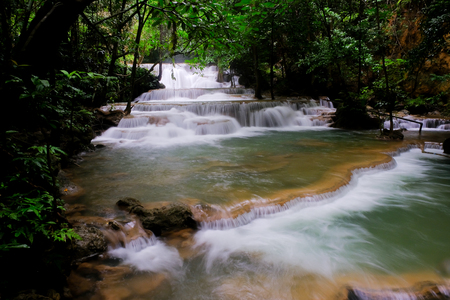 Beautiful water fall in Thailand,Huay mae ka min,Kanjanaburi Thailand travel destination