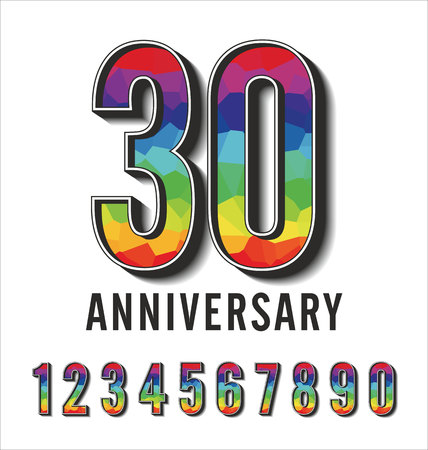 mariage: Set of colorful polygonal numbers anniversary Illustration