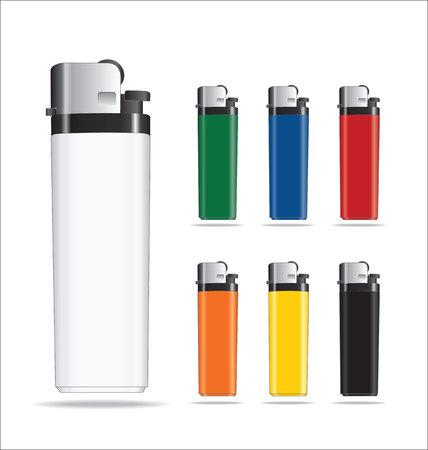 encendedores: Conjunto de coloridas plásticas promocionales Encendedores Vectores