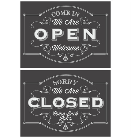 restaurant sign: Vintage symbol lettering come in were open and sorry were closed Illustration