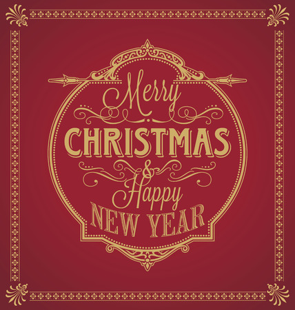 Vintage Merry Christmas And Happy New Year Calligraphic and Ornament Frame on Red Background
